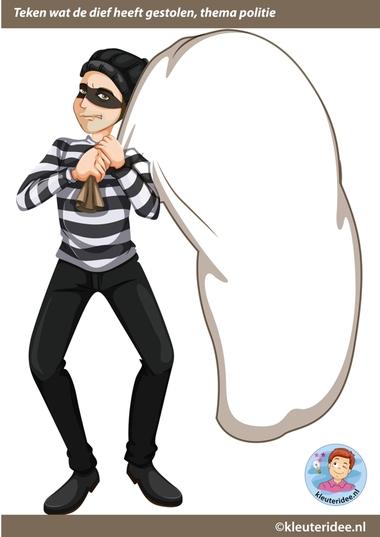 Houd de dief, met gratis download, teken of plak wat de dief heeft gestolen 2, kleuteridee.nl, Kindergarten police theme