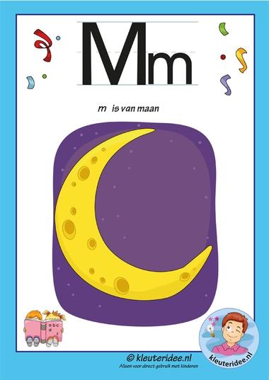 Pakket over de letter m blad 2, letterkaart met een m, kleuteridee, free printable.