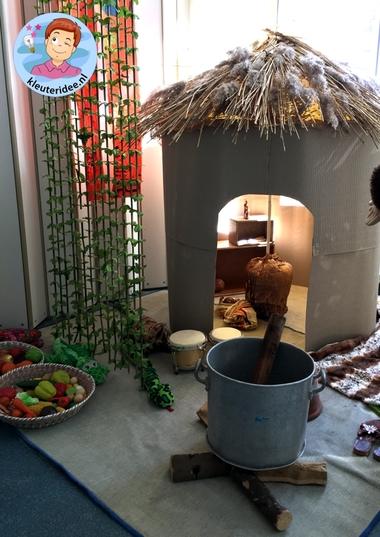 Afrikaanse hut,kleuteridee, thema Afrika.