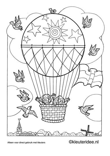Kleurplaat luchtballon, kleuteridee.nl , preschool coloring.