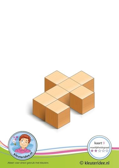 Bouwkaart 9 moeilijkheidsgraad 2 voor kleuters, kleuteridee, Preschool card building blocks with toddlers 9, difficulty 2.