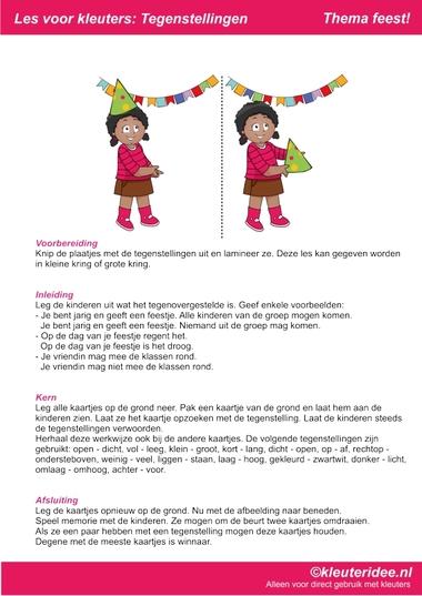 Les over tegenstellingen, thema feest voor kleuters, juf Petra van kleuteridee, bij behorende les op de website, preschool opposites, free printable.