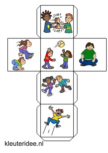 Dobbelsteen met acties voor kleuters, kleuteridee.nl, free printable