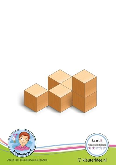 Bouwkaart 8 moeilijkheidsgraad 2 voor kleuters, kleuteridee, Preschool card building blocks with toddlers 8, difficulty 2.