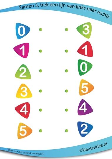 Samen 5, juf Petra van kleuteridee, rekenen met kleuters, 5 together, free preschool printable.