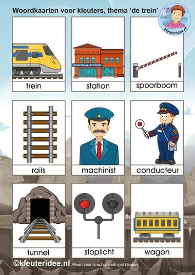 Woordkaarten voor kleuters, thema 'de trein', kleuteridee.nl, free printable railroad words.