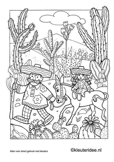 Kleurplaat Mexico 2, kleuteridee.nl , Mexican coloring.