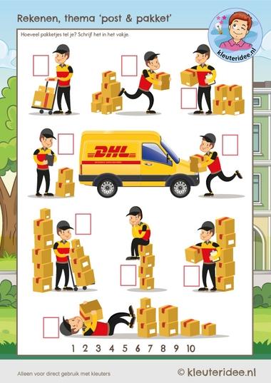 Tel de pakketten, rekenen met kleuters, kleuteridee, Kindergarten delivery math kl