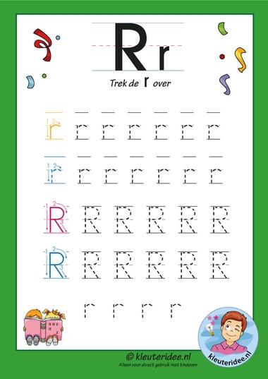 Pakket over de letter r blad 7, trek de letter r over, letters aanbieden aan kleuters, kleuteridee