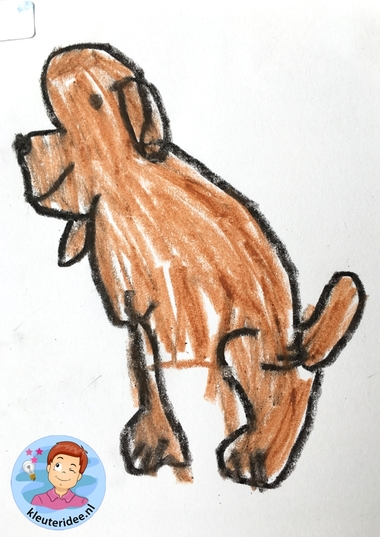 hond tekenen stap voor stap, thema de hond, kindergarten dog theme, draw a dog step by step, kleuteridee 3