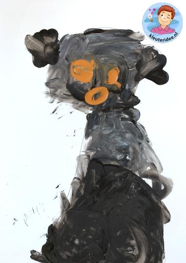 honden naschilderen met kleuters, thema de hond, Kindergarten dog craft, kleuteridee.nl 6