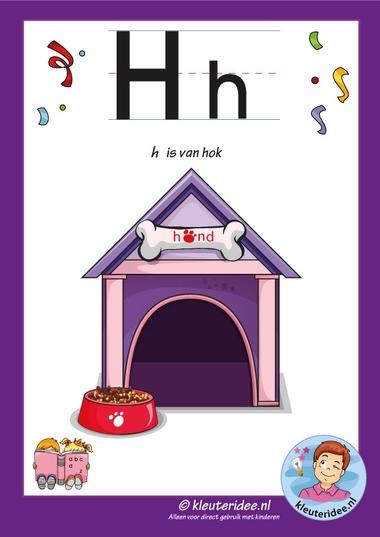 Pakket over de letter h blad 2, letterkaart, kleuteridee, letters aanbieden aan kleuters,free printable.