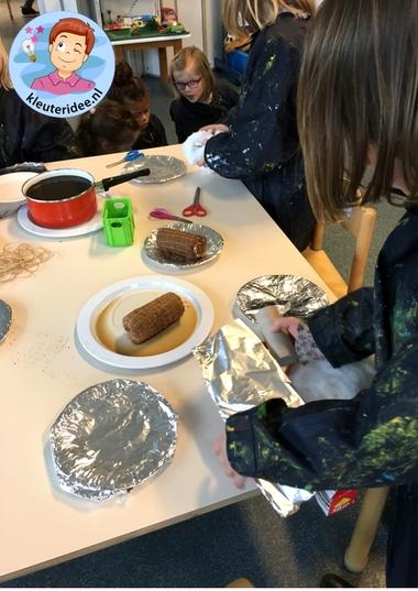 Rollade knutselen, thema de koe, kleuteridee, Kindergarten meat craft 2.