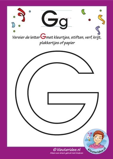 Pakket over de letter g blad 5, versier de hoofdletter G , letters aanbieden aan kleuters, kleuteridee, free printable.