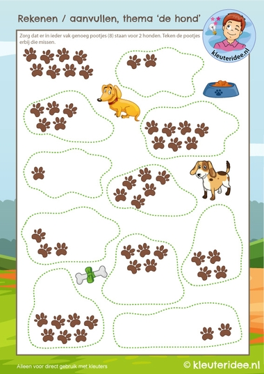 rekenen thema de hond, kleuteridee, kindergarten Dog math, free printable k