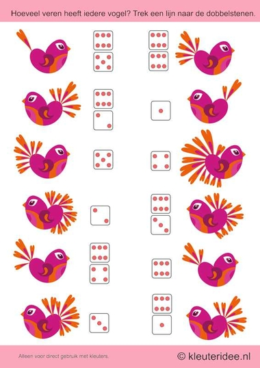 Hoeveel veren heeft iedere vogel. Trek een lijn naar de dobbelstenen, kleuteridee.nl , thema lente voor kleuters,How many feathers, each bird. Draw a line to roll the dice, free printable.