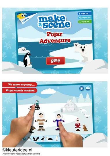 Polar adventure, leuke leerzame app voor jongste en oudste kleuters, voor beschrijving zie kleuteridee.nl , de kinderen leren veel over de dieren, mensen en natuur op de Noordpool en Zuidpool 1, for all languages