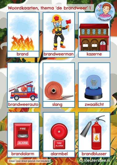 woordkaarten thema de brandweer, kindergarten firefighters theme, kleuteridee 1
