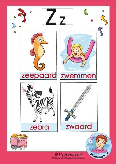 Pakket over de letter z blad 3, woordkaarten met een z, kleuteridee, free printable