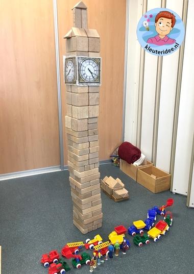 Big Ben bouwen in de bouwhoek met kleuters, thema Engeland, kleuteridee
