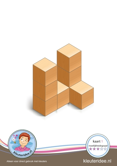 Bouwkaart 1 moeilijkheidsgraad 3 voor kleuters, kleuteridee, Preschool card building blocks with toddlers 1, difficulty 3.