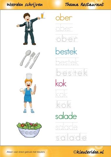 Woorden schrijven met kleuters, thema restaurant, juf Petra van kleuteridee.nl, free printable.