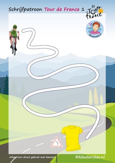 Schrijfpatroon, Tour de France 1, voor kleuters, kleuteridee.nl, Writing pattern free printable.