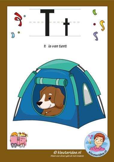 Pakket over de letter t blad 2, letterkaart met een t, kleuteridee, free printable
