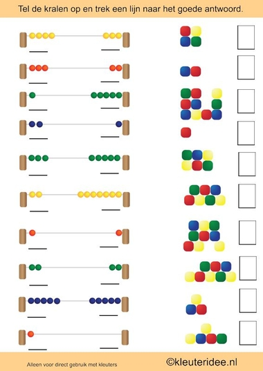 Tel op en waar zie je evenveel, rekenen met kleuters, kleuteridee.nl , math preschool.
