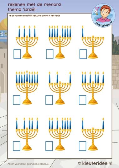 Rekenen met de menora, thema Israël, kleuteridee