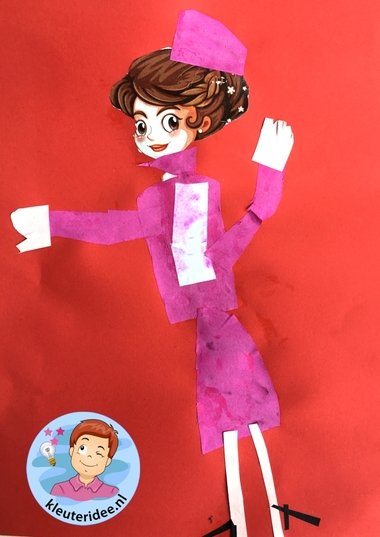 stewardess knippen en plakken, thema vliegveld, kleuteridee, Kindergarten stewardess craft, airport theme 3