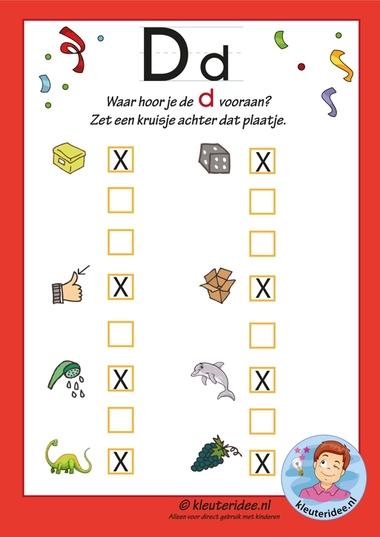 Pakket over de letter d blad 9, in welk woord hoor je een d vooraan de antwoorden, letters aanbieden aan kleuters, kleuteridee.