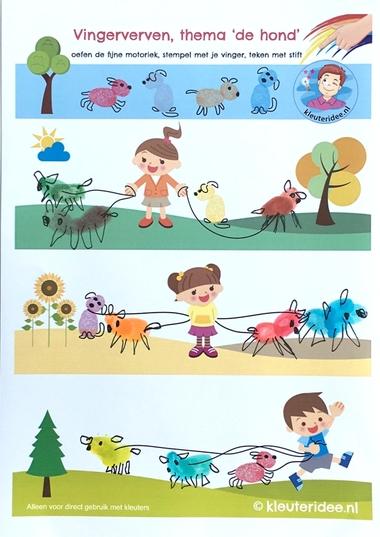 Honden maken met vingerverf, thema de hond, kleuteridee, Kindergarten dog theme, free printable 2