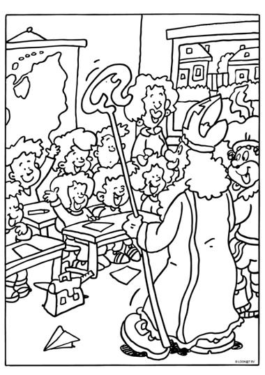 Kleurplaat Sinterklaas 6, kleuteridee