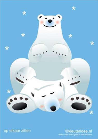 Bewegingskaarten ijsbeer voor kleuters 13 , op elkaar zitten , kleuteridee.nl, thema Noorpool, Movementcards for preschool, free printable.