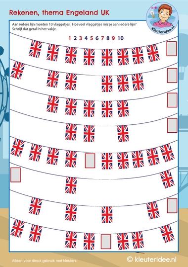 Rekenen met vlaggen, thema Engeland UK , kleuteridee, free printable