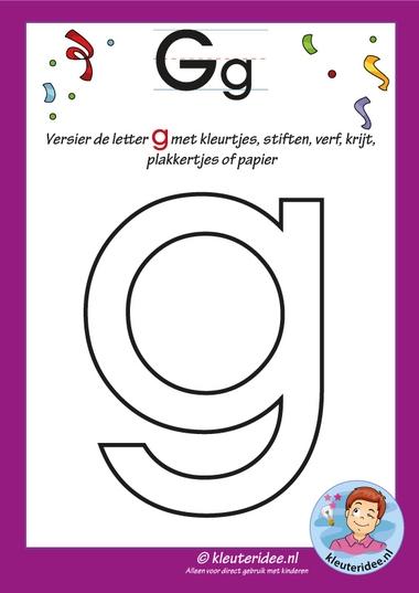 Pakket over de letter g blad 4, versier de letter , letters aanbieden aan kleuters, kleuteridee, free printable.