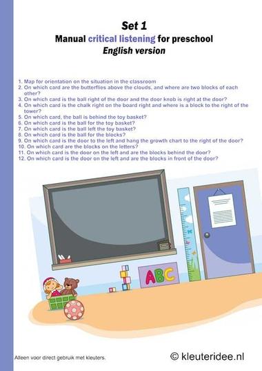 Critical listening for preschool ,English manual, set 1, kleuteridee.nl .free printable.
