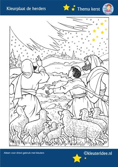 Kleurplaat de herders in het veld, thema Kerst voor kleuters, kleuteridee, free printable.