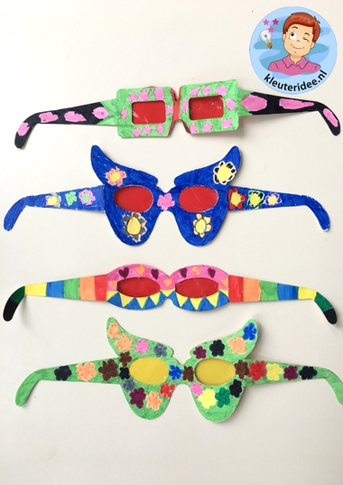 Bril maken met kleuters, kleuteridee, thema het oog, bril, Kindergarten eye theme glasses 2.