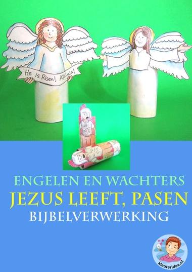 Pasen, Jezus leeft, engelen en wachters , knutselen verwerking, kindergarten ressurrection craft, free printable, kleuteridee