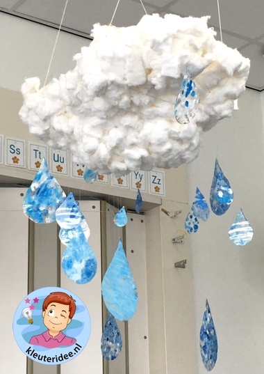 Wolk met regen knutselen kleuters, thema water, kleuteridee