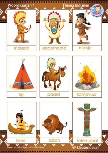 Woordkaarten voor kleuters 1, thema indianen, kleuteridee, free printable.Woordkaarten voor kleuters 1, thema indianen, kleuteridee, free printable.