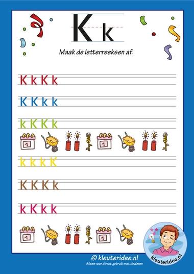 Pakket over de letter k blad 14, maak de letterreeksen af, kleuteridee, free printable.