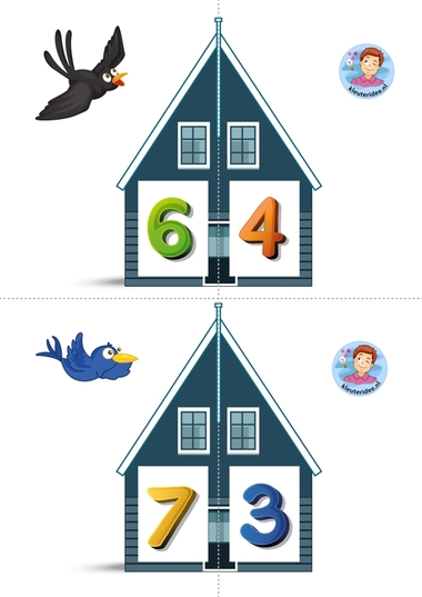 Vrienden van 10 4 kleuteridee.nl, free printable, Twee halve huizen aan elkaar, is precies 10 bij elkaar