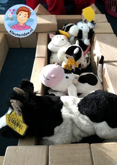 koeien in de bouwhoek, thema de koe, kleuteridee.nl