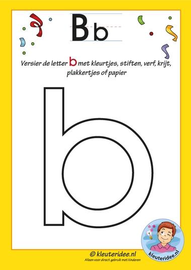 Pakket over de letter b blad 4, versier de letter b, letters aanbieden aan kleuters, kleuteridee.nl, free printable.