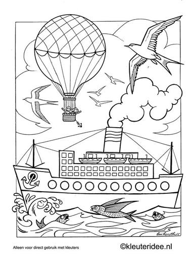 Kleurplaat vervoer 1, kleuteridee.nl , preschool coloring.
