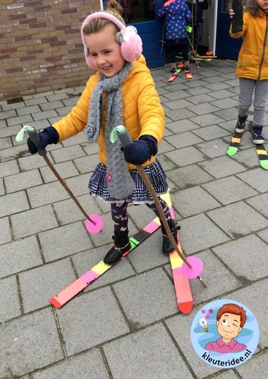 Ski knutselen met kleuters 2, kindergarten mountains theme, kleuteridee