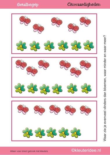 Citovaardigheden voor kleuters, kleuteridee.nl ,meten en getalbegrip, Waar zie je evenveel, waar meer en waar minder vlinders dan bloemen 2 , rekenen voor kleuters.